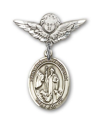 Pin Badge with St. Anthony of Egypt Charm and Angel with Smaller Wings Badge Pin - Silver tone