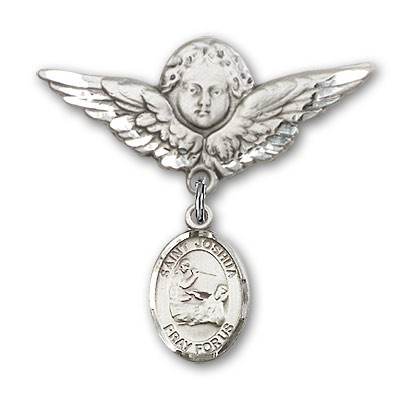 Pin Badge with St. Joshua Charm and Angel with Larger Wings Badge Pin - Silver tone