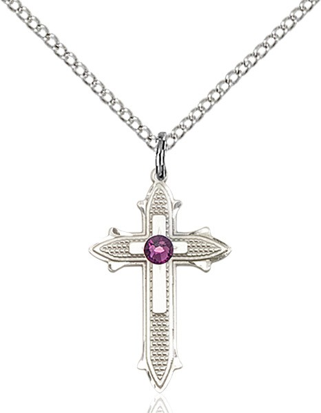 Polished and Textured Cross Pendant with Birthstone Options - Amethyst