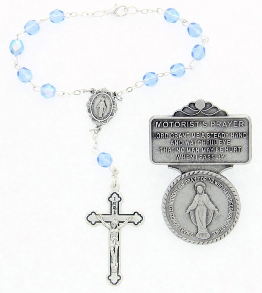 Miraculous Matching Auto Rosary and Visor Clip Set, Pewter, 7mm glass beads - Silver