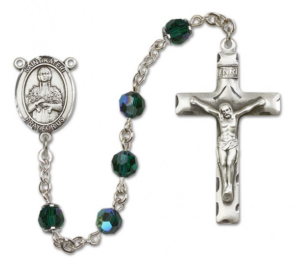 St. Kateri Sterling Silver Heirloom Rosary Squared Crucifix - Emerald Green