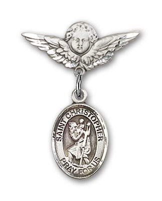 Pin Badge with St. Christopher Charm and Angel with Smaller Wings Badge Pin - Silver tone