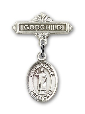 Pin Badge with St. Stephen the Martyr Charm and Godchild Badge Pin - Silver tone