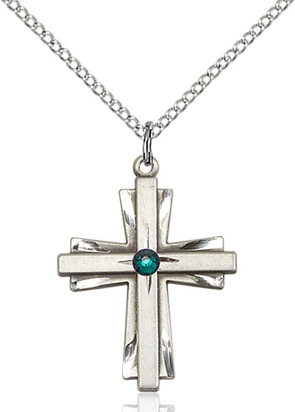 Women's Cross on Cross Pendant with Birthstone Options - Emerald Green