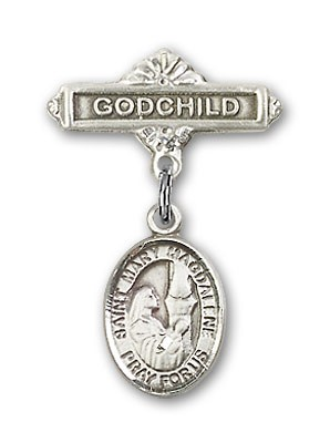 Pin Badge with St. Mary Magdalene Charm and Godchild Badge Pin - Silver tone