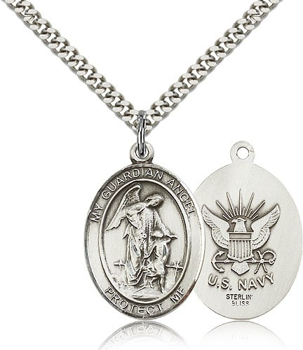 Guardian Angel Navy Medal - Sterling Silver