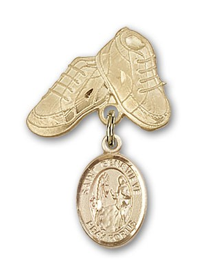 Pin Badge with St. Genevieve Charm and Baby Boots Pin - Gold Tone