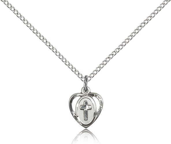 Baby Heart and Cross Pendant - Sterling Silver