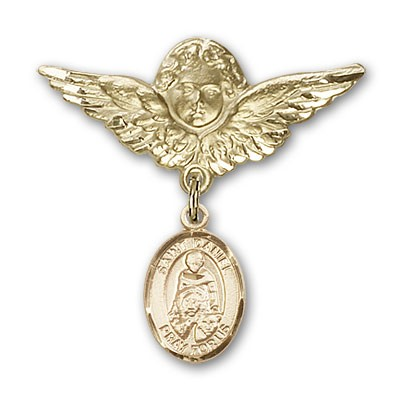 Pin Badge with St. Daniel Charm and Angel with Larger Wings Badge Pin - 14K Solid Gold