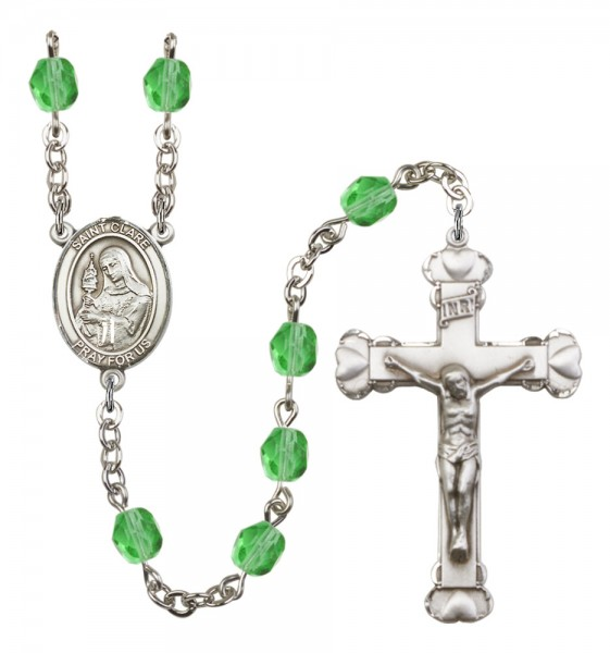 Women's St. Clare of Assisi Birthstone Rosary - Peridot
