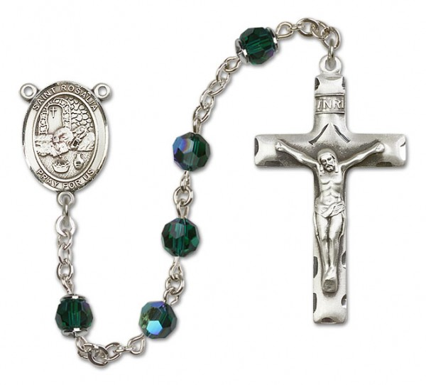 St. Rosalia Sterling Silver Heirloom Rosary Squared Crucifix - Emerald Green
