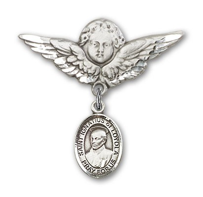 Pin Badge with St. Ignatius Charm and Angel with Larger Wings Badge Pin - Silver tone
