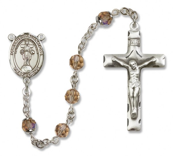 Our Lady of Nations Sterling Silver Heirloom Rosary Squared Crucifix - Topaz