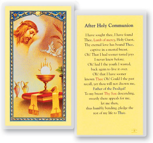 Prayer After Holy Communion Laminated Prayer Cards 25 Pack - Full Color