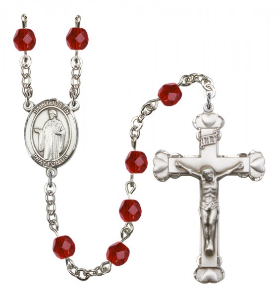 Women's St. Justin Birthstone Rosary - Ruby Red