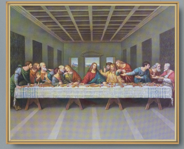 The Last Supper Gold Framed Print - Full Color