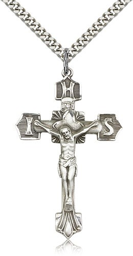 IHS Men's Crucifix Pendant - Sterling Silver