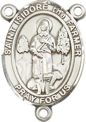 St. Isidore Rosary Centerpiece - Sterling Silver