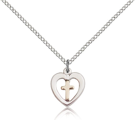 Cross in a Heart Pendant - Gold | Silver