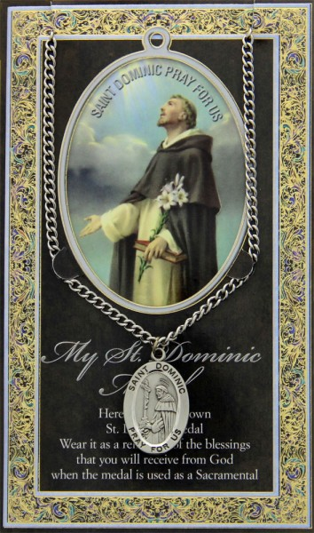 St. Dominic Medal in Pewter with Bi-Fold Prayer Card - Silver tone