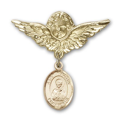 Pin Badge with St. Timothy Charm and Angel with Larger Wings Badge Pin - 14K Solid Gold