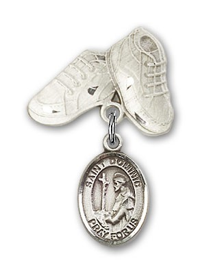 Pin Badge with St. Dominic de Guzman Charm and Baby Boots Pin - Silver tone