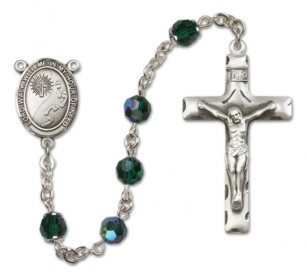 Footprints Cross Sterling Silver Heirloom Rosary Squared Crucifix - Emerald Green