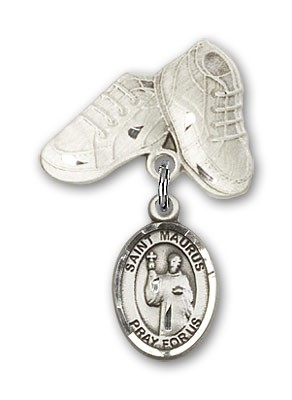 Pin Badge with St. Maurus Charm and Baby Boots Pin - Silver tone