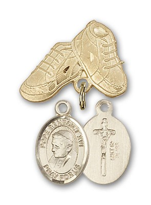 Baby Badge with Pope Benedict XVI Charm and Baby Boots Pin - 14K Yellow Gold