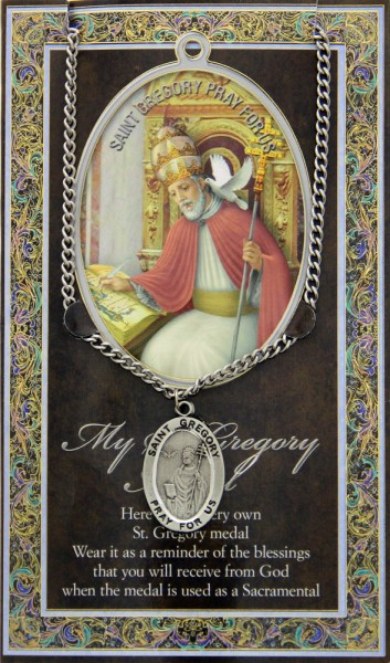 St. Gregory the Great Medal in Pewter with Bi-Fold Prayer Card - Silver tone
