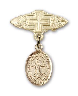 Pin Badge with St. Isidore the Farmer Charm and Badge Pin with Cross - 14K Yellow Gold