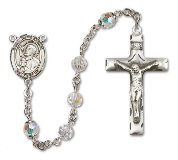 St. Rene Goupil Sterling Silver Heirloom Rosary Squared Crucifix - Crystal