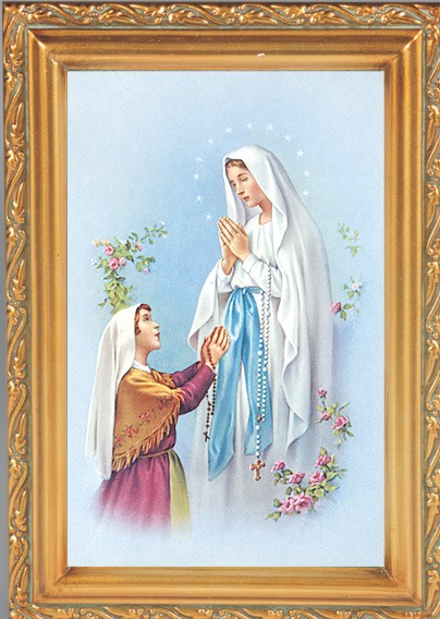 Our Lady of Lourdes Antique Gold Framed Print - Full Color