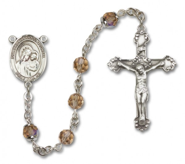 Our Lady of Good Counsel Sterling Silver Heirloom Rosary Fancy Crucifix - Topaz