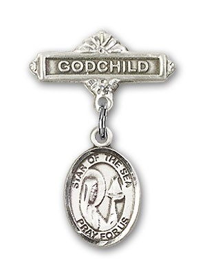 Baby Badge with Our Lady Star of the Sea Charm and Godchild Badge Pin - Silver tone