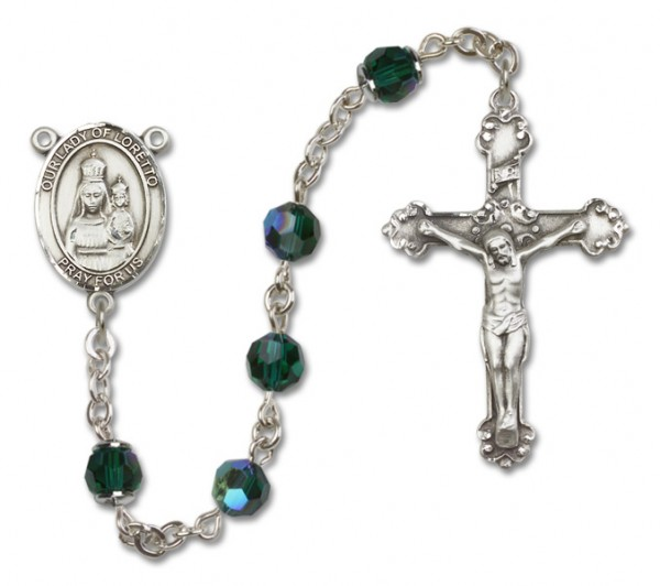 Our Lady of Loretto Sterling Silver Heirloom Rosary Fancy Crucifix - Emerald Green
