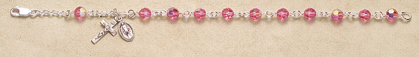 Rosary Bracelet - Sterling Silver with Pink Swarovski Beads - Pink