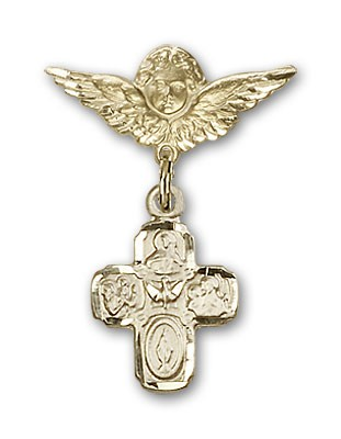 Pin Badge with 4-Way Charm and Angel with Smaller Wings Badge Pin - 14K Yellow Gold