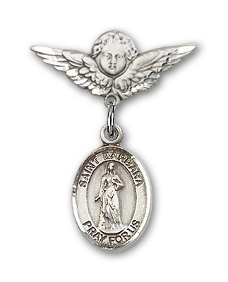 Pin Badge with St. Barbara Charm and Angel with Smaller Wings Badge Pin - Silver tone
