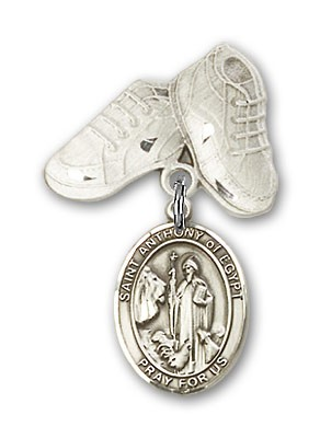 Pin Badge with St. Anthony of Egypt Charm and Baby Boots Pin - Silver tone