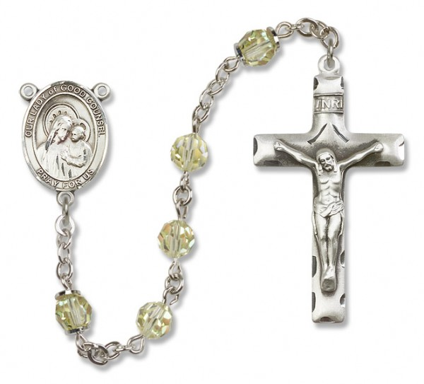 Our Lady of Good Counsel Sterling Silver Heirloom Rosary Squared Crucifix - Jonquil