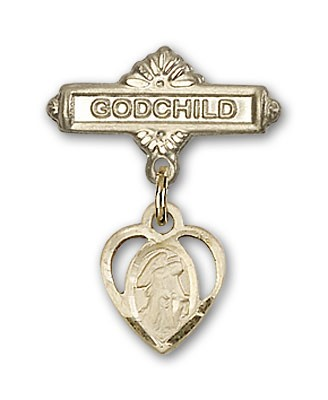 Baby Badge with Guardian Angel Charm and Godchild Badge Pin - 14K Yellow Gold