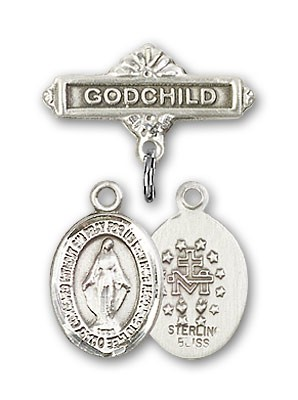 Baby Badge with Miraculous Charm and Godchild Badge Pin - Silver tone