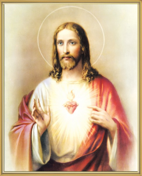 Sacred Heart of Jesus Gold Framed Print - Full Color