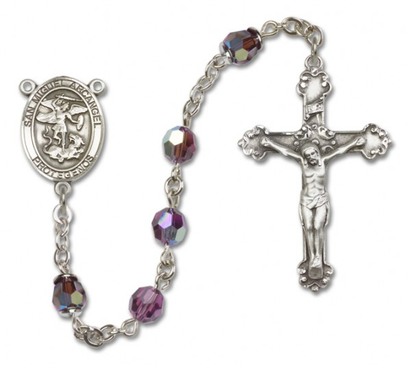 San Miguel the Archangel Sterling Silver Heirloom Rosary Fancy Crucifix - Amethyst
