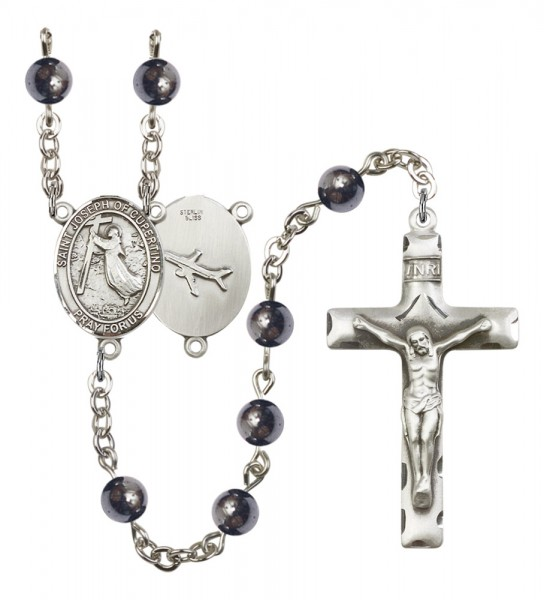 Men's St. Joseph of Cupertino Silver Plated Rosary - Gray