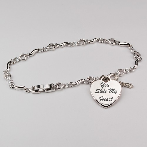 Silver Bracelet with Heart Pendant and Crystals - Silver