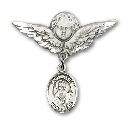 Pin Badge with St. Paul the Apostle Charm and Angel with Larger Wings Badge Pin - Silver tone