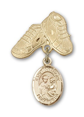 Pin Badge with St. Anthony of Padua Charm and Baby Boots Pin - Gold Tone