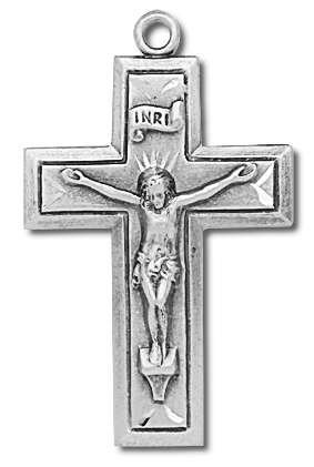 Antique Inner Border Sterling Silver Rosary Crucifix - Sterling Silver